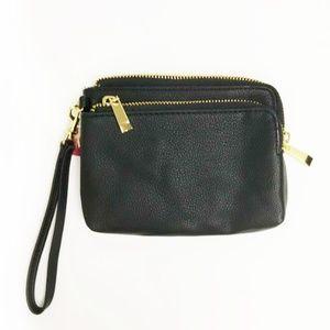 Black Faux Leather Small Wristlet